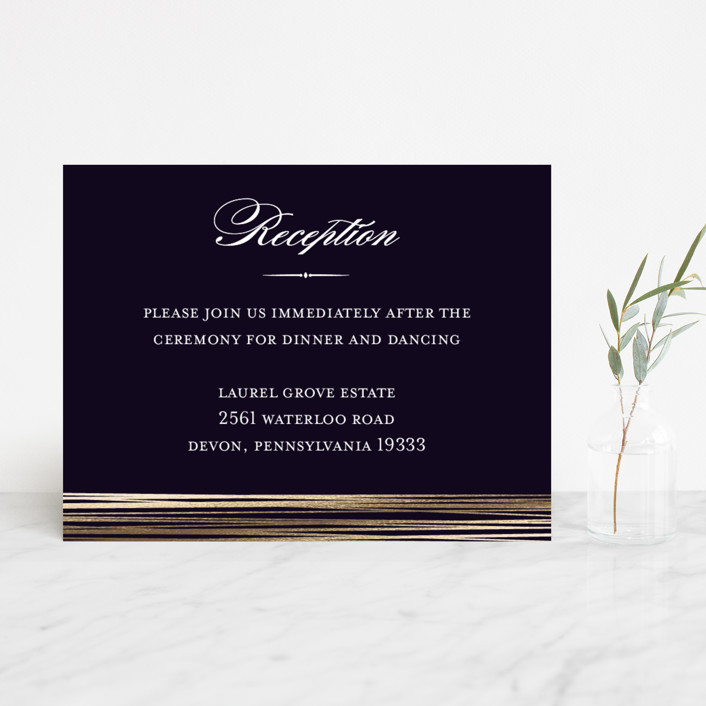 """Evening Elegance"" - Modern Foil-pressed Reception Cards in Midnight by Katherine Moynagh."