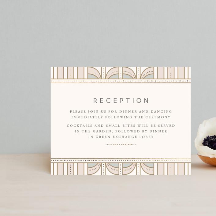 """art deco mood"" - Vintage Foil-pressed Reception Cards in Ivory by Anastasia Makarova."