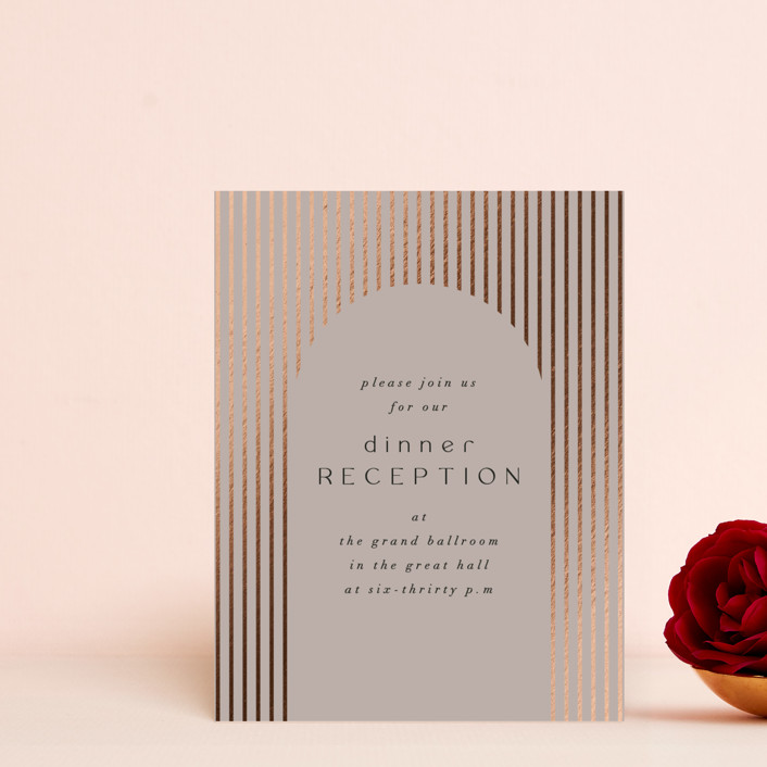 """Minimalist Deco"" - Vintage, Modern Foil-pressed Reception Cards in Fawn by Nazia Hyder."