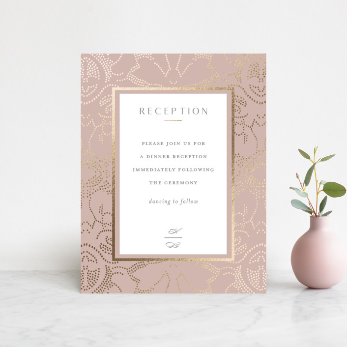 """""""Nicolette"""" - Bohemian Foil-pressed Reception Cards in Peony by Susan Zinader."""