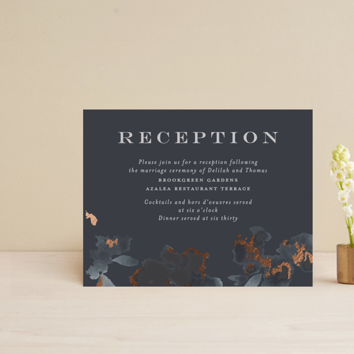 """""""Carolina"""" - Rustic Foil-pressed Reception Cards in Dusty Blue by Meagan Christensen."""