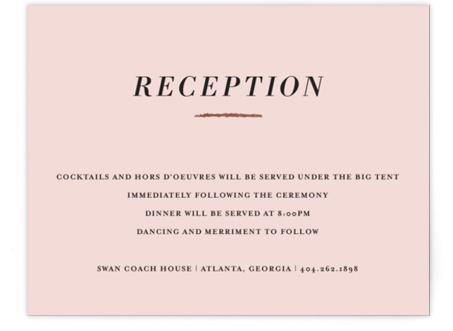 This is a pink, rosegold Reception Cards by Red Door Design called Minimalist Brush with Foil Pressed printing on Signature in Card Flat Card format. The clean white background of this minimalist wedding invitation is punctuated by a bold gold ...