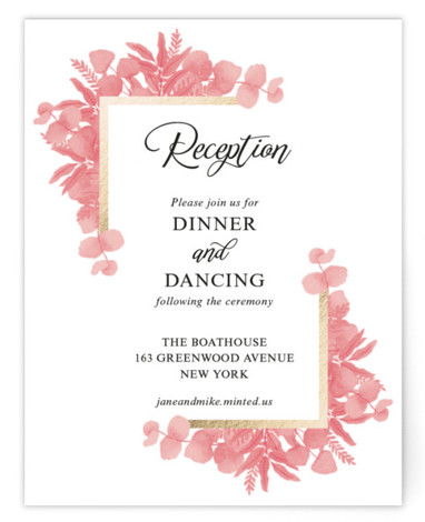This is a portrait botanical, painterly, rustic, pink Reception Cards by Psychae called Greenery frame with Foil Pressed printing on Signature in Card Flat Card format. An elegant wedding invitation with watercolor hand painted leaves and a golden frame.