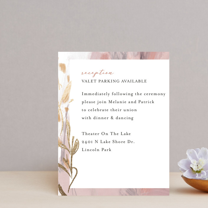 """Impressions"" - Foil-pressed Reception Cards in Peachy by Lindsay Megahed."