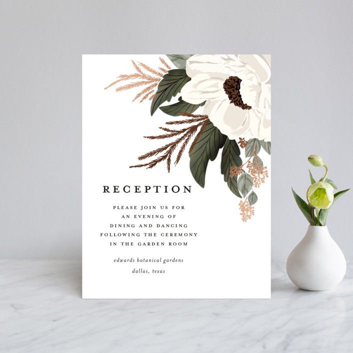 """""""Floral Sweep"""" - Rustic Foil-pressed Reception Cards in Powder by Susan Moyal."""