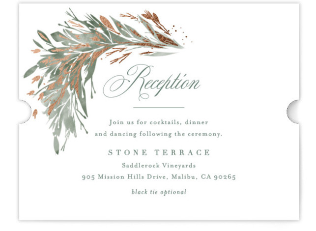 This is a landscape botanical, painterly, green Reception Cards by Kristie Kern called Fields with Foil Pressed printing on Signature in Card Flat Card format. Light watercolor foliage is accented by delicate gold foil in this elegant design.