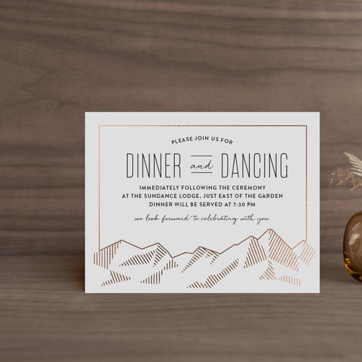 """Mountain Vista"" - Modern Foil-pressed Reception Cards in Mist by Rebecca Daublin."