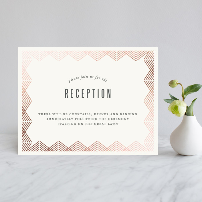 """Shine"" - Vintage Foil-pressed Reception Cards in Rose Gold by Kampai Designs."