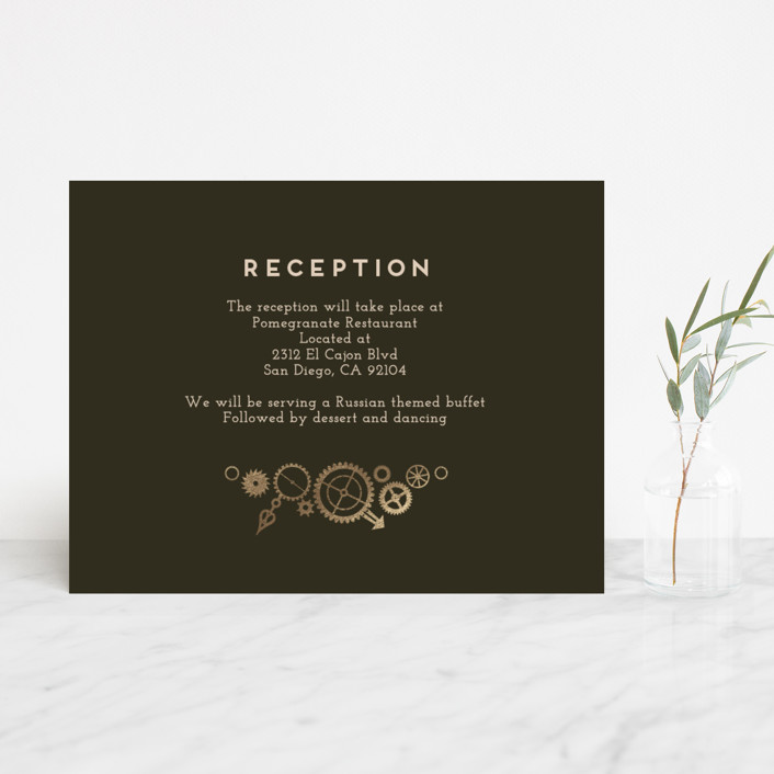 Steampunk foil pressed reception cards by katie zimpel minted steampunk whimsical funny foil pressed reception cards in olive by katie reheart Image collections
