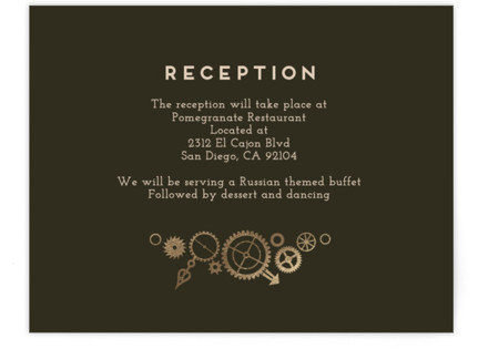 Steampunk Foil-Pressed Reception Cards