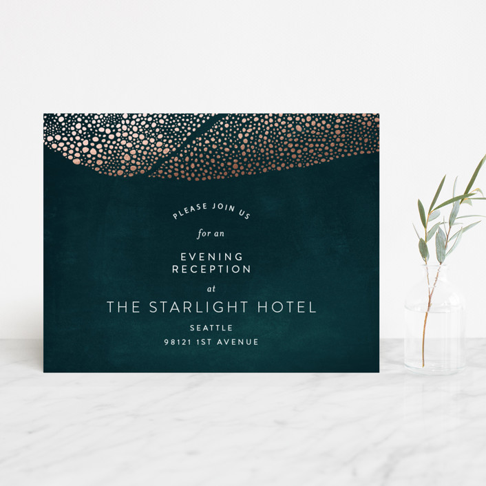 """""""The Milky Way"""" - Bohemian Foil-pressed Reception Cards in Emerald by Phrosne Ras."""