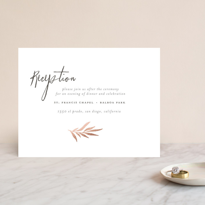 """Wild Wreath"" - Modern, Rustic Foil-pressed Reception Cards in Rose Gold by Wildfield Paper Co.."