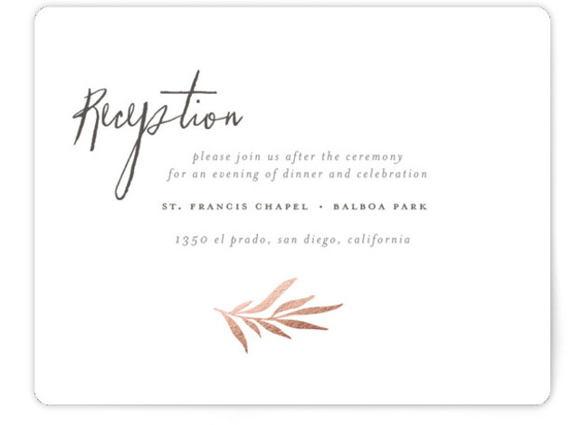 This is a landscape modern, rustic, rosegold Reception Cards by Wildfield Paper Co. called Wild Wreath with Foil Pressed printing on Signature in Card Flat Card format. Wreath