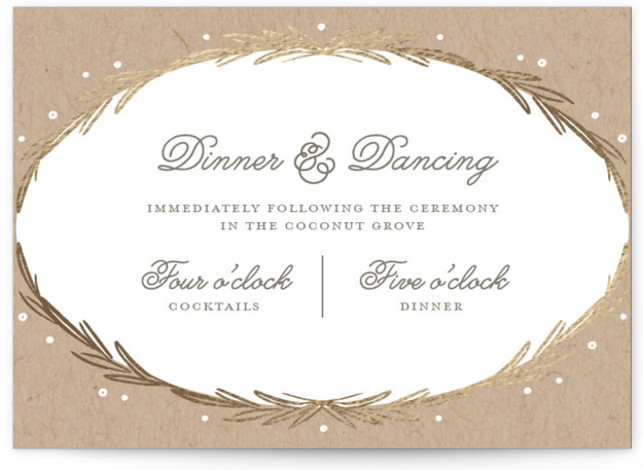 This is a landscape botanical, rustic, brown Reception Cards by Kelly Nasuta called Winter Wreath with Foil Pressed printing on Signature in Card Flat Card format. Gold winter wreath combined with berries and an organic wood grain texture