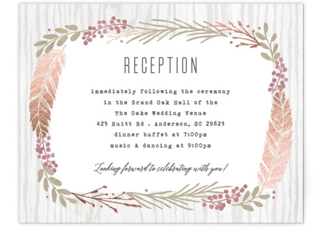 This is a landscape botanical, rustic, rosegold Reception Cards by Hooray Creative called Woodland Wreath with Foil Pressed printing on Signature in Card Flat Card format. Elegant type paired with a rustic wreath and gold accents that's perfect for a ...