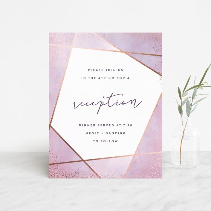 """Amethyst Watercolor"" - Foil-pressed Reception Cards in Amethyst by Hooray Creative."