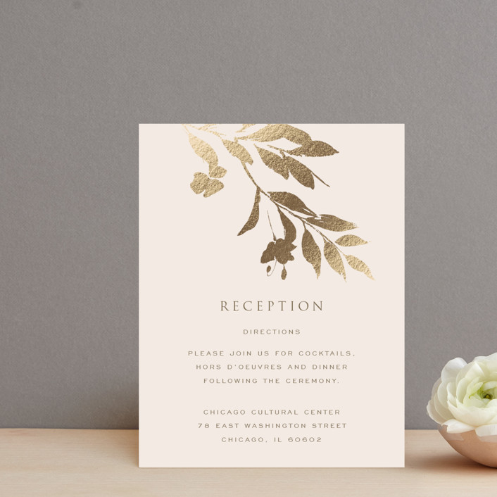 """""""Intentions"""" - Foil-pressed Reception Cards in Soft Cheek by Design Lotus."""