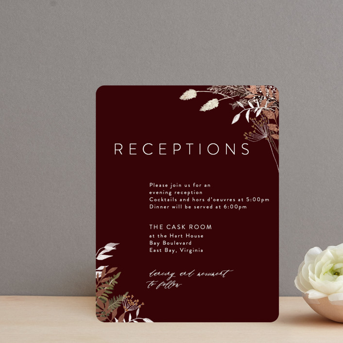 """""""dried foliage"""" - Rustic Foil-pressed Reception Cards in Burgundy by Cass Loh."""