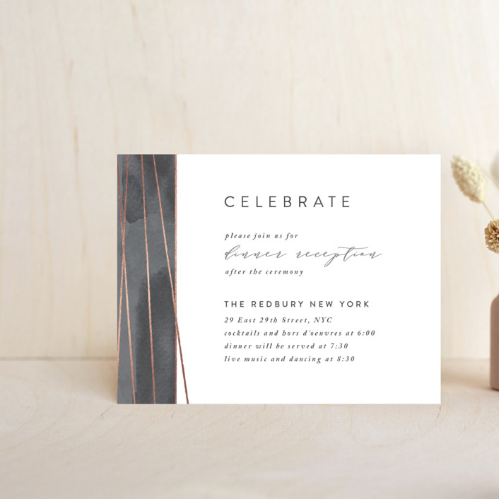 """Geo Chic"" - Foil-pressed Reception Cards in Charcoal by Hooray Creative."