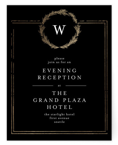 This is a bold and typographic, classic and formal, monogram, black, gold Reception Cards by Phrosne Ras called Little Wreath with Foil Pressed printing on Signature in Card Flat Card format. A simple foil design with a hand drawn wreath ...