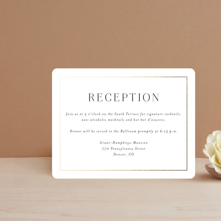 """""""Entwine"""" - Foil-pressed Reception Cards in Pearl by Jennifer Postorino."""