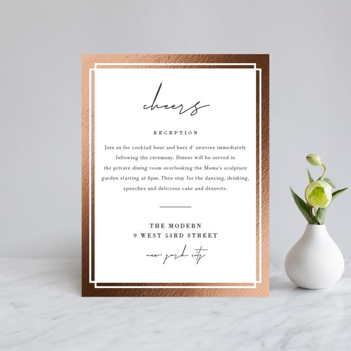 """Modern Vows"" - Foil-pressed Reception Cards in Silk by Jennifer Lew."