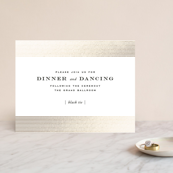 """""""Majestic"""" - Whimsical & Funny, Vintage Foil-pressed Reception Cards in Gold by Oscar & Emma."""