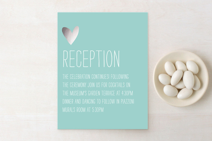 """""""Passing Notes"""" - Whimsical & Funny Foil-pressed Reception Cards in Silver by annie clark."""