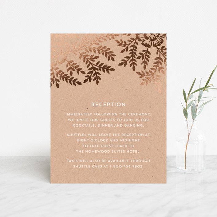 """Leaves and Kraft"" - Rustic Foil-pressed Reception Cards in Warm Kraft by Katharine Watson."