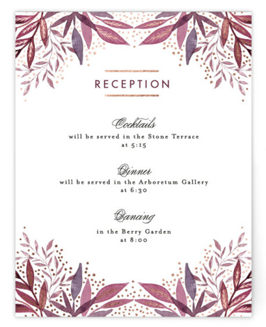 This is a botanical, painterly, purple, rosegold Reception Cards by Alethea and Ruth called Painted Leaves Corner with Foil Pressed printing on Signature in Card Flat Card format. This wedding invite features painted leaves tucked behind a geometric layout.