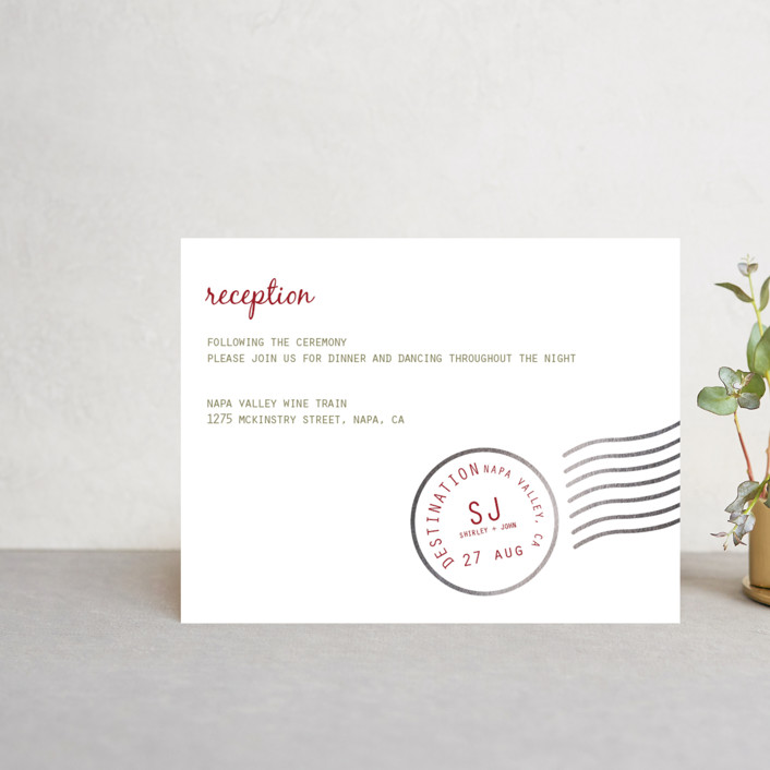 """""""A Faraway Destination"""" - Foil-pressed Reception Cards in Deep Red by bumble ink."""