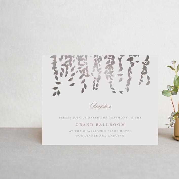 """Cascade"" - Elegant, Formal Foil-pressed Reception Cards in Mist by Lori Wemple."