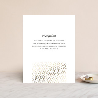 """""""Delicate Dots"""" - Modern, Formal Foil-pressed Reception Cards in Gold by Ashley Hegarty."""