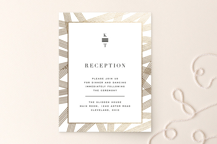 """Gold Notes"" - Foil-pressed Reception Cards in Midnight by Carrie ONeal."