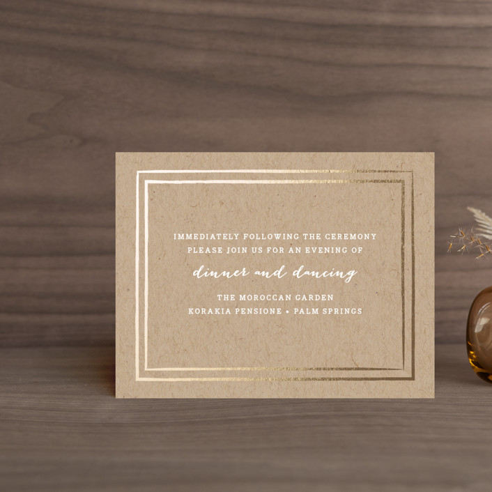"""""""Gold Rush"""" - Whimsical & Funny, Preppy Foil-pressed Reception Cards in Kraft by Annie Clark."""