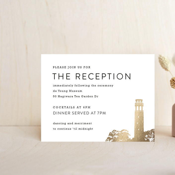 """""""Golden Gate Bridge"""" - Modern Foil-pressed Reception Cards in Gold by Hooray Creative."""