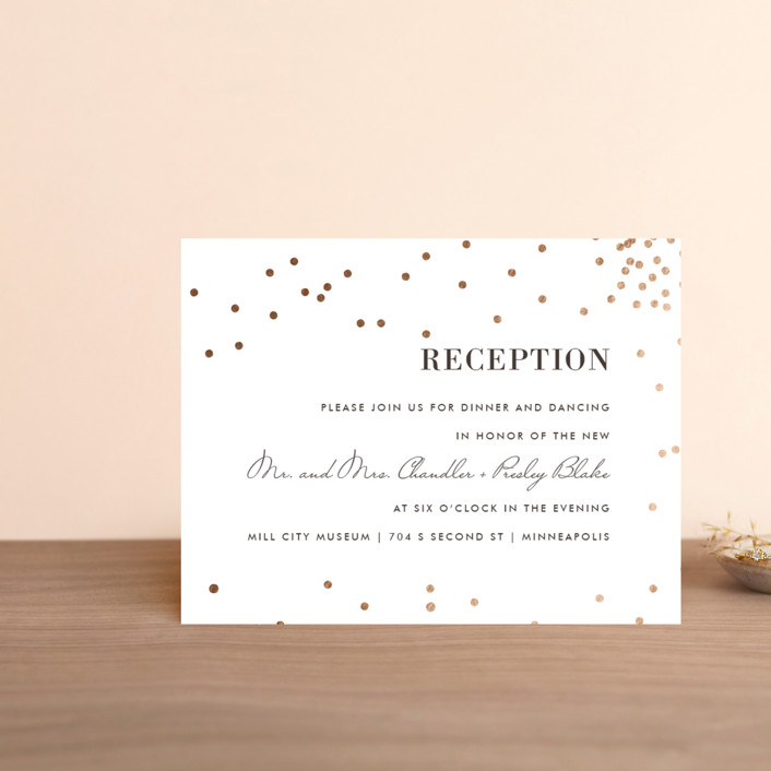 """Thrilling"" - Preppy Foil-pressed Reception Cards in Gold by Design Lotus."
