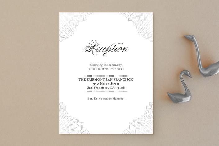 """Splendorous"" - Formal, Elegant Foil-pressed Reception Cards in Snow by Design Lotus."