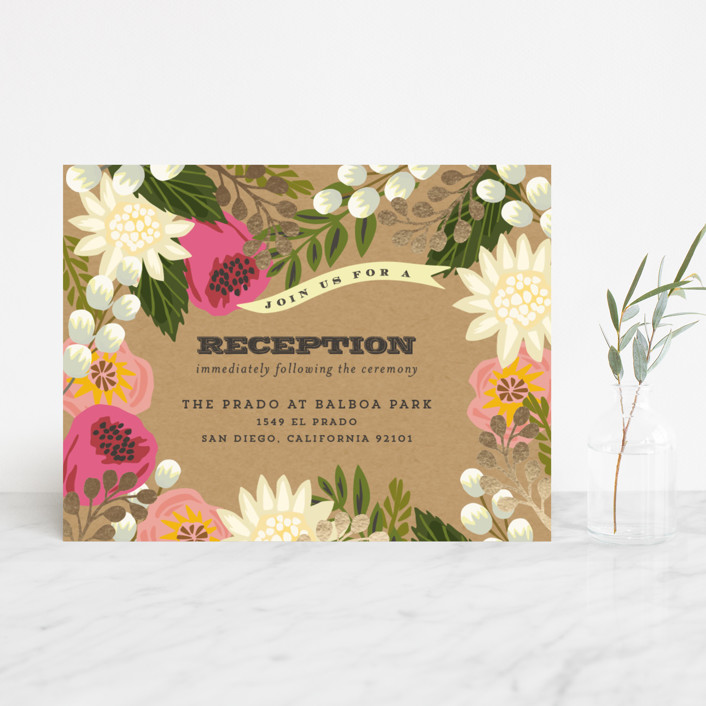 """""""Floral Canopy"""" - Floral & Botanical, Rustic Foil-pressed Reception Cards in Peony by Griffinbell Paper Co.."""