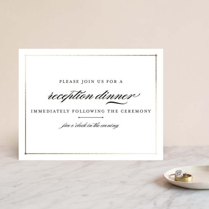 """""""Dapper Amper"""" - Foil-pressed Reception Cards in Gold by Snow and Ivy."""