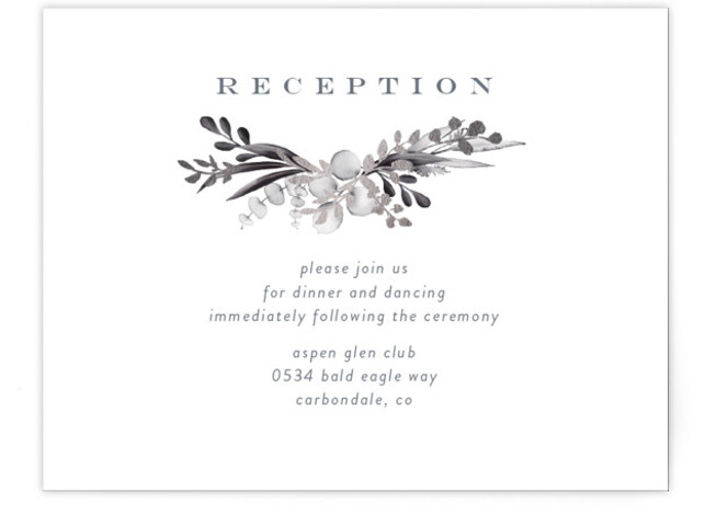 This is a portrait botanical, painterly, rustic, blue, grey Reception Cards by Petra Kern called gilded wreath with Foil Pressed printing on Signature in Card Flat Card format. Gilded gentle greenery design hugs couples name in nature inspired wedding invitation. ...