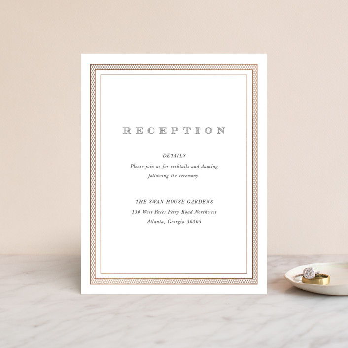 """Intricate"" - Vintage Foil-pressed Reception Cards in Classic by Design Lotus."