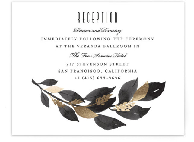 This is a black, gold Reception Cards by Four Wet Feet Studio called Glamorous Foliage with Foil Pressed printing on Signature in Card Flat Card format. A modern wedding invite features botanical watercolor illustrations and foil accents.
