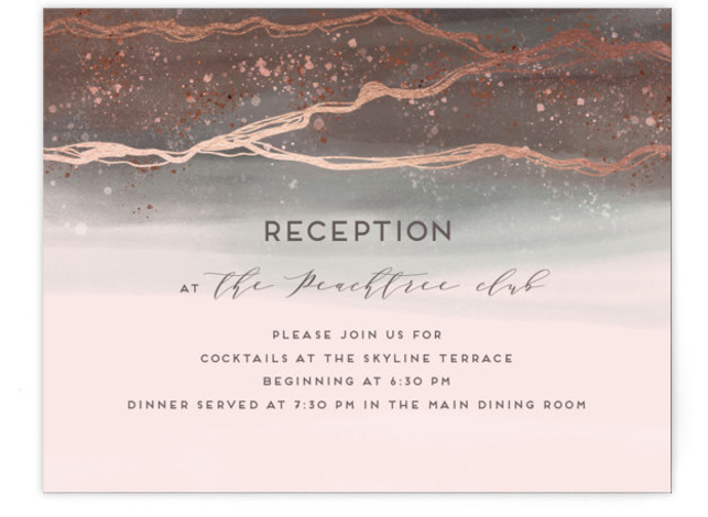 This is a pink, brown, rosegold Reception Cards by iamtanya called Natural Elegance with Foil Pressed printing on Signature in Card Flat Card format. This wedding invitation features watercolor techniques and graphic lines in elegant way.