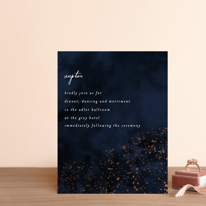 """glistening stardust"" - Foil-pressed Reception Cards in Midnight by Angela Marzuki."