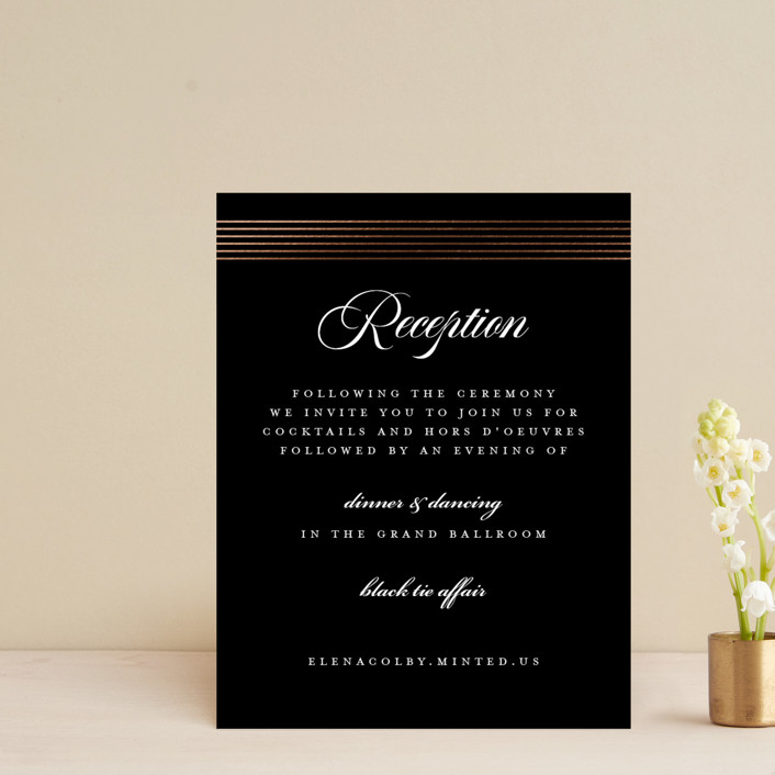 """""""Classic Stripes"""" - Foil-pressed Reception Cards in Tuxedo by Christie Garcia."""