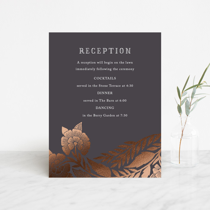 """""""Block Printed Border"""" - Foil-pressed Reception Cards in Cement by Katharine Watson."""