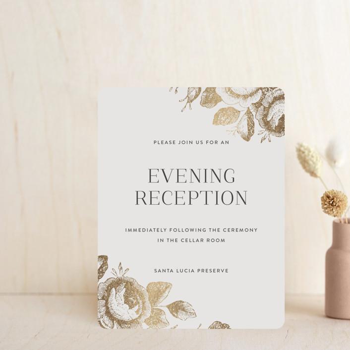 """""""Beloved"""" - Foil-pressed Reception Cards in Mist by Design Lotus."""