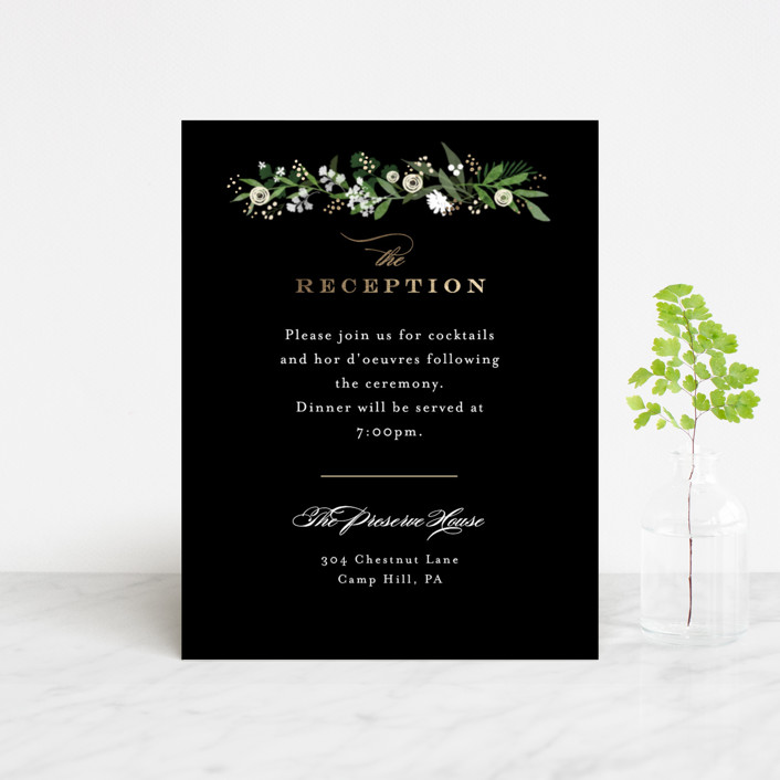 """""""Stacked wedding"""" - Foil-pressed Reception Cards in Midnight by Jennifer Wick."""