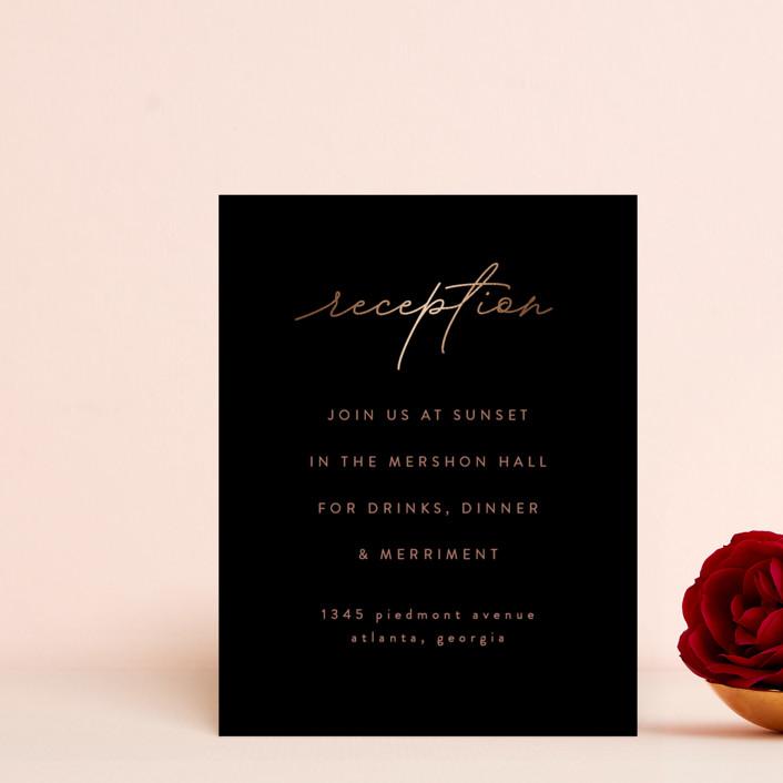 """Simple Elegance"" - Foil-pressed Reception Cards in Ebony by Angela Thompson."